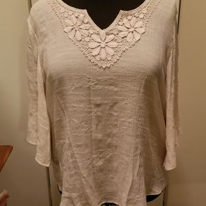 Pretty Textured Tunic with Crocheted Trim